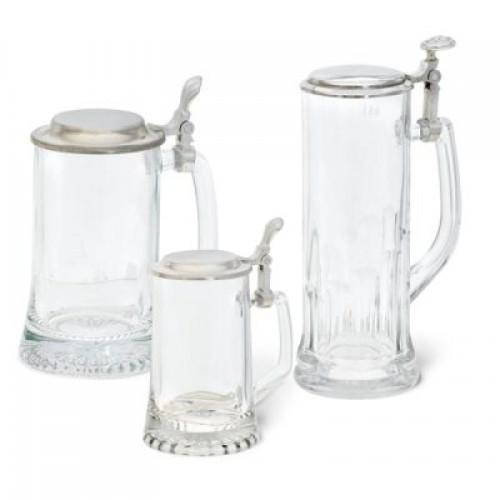 Glasbierkrug ISAR mit Zinndeckel